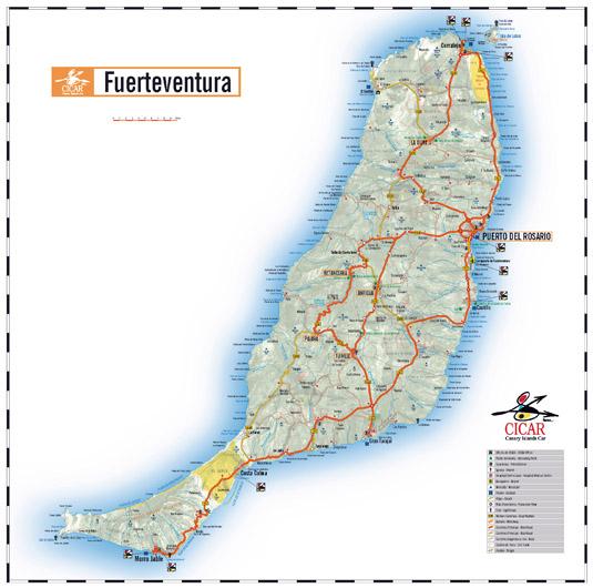 Fuerteventura island map